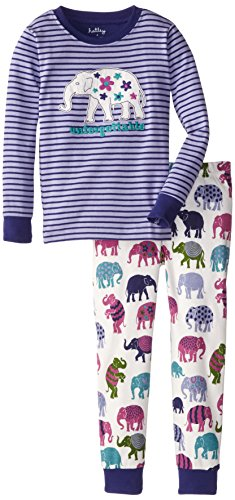 Hatley Little Girls' Pajama Set - Patterned Elephants Unforgettable, Purple, 4 front-1071983