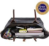 KMM Best Canvas Work Tote Bag Shoulder Handbag with Genuine Leather Handles #045