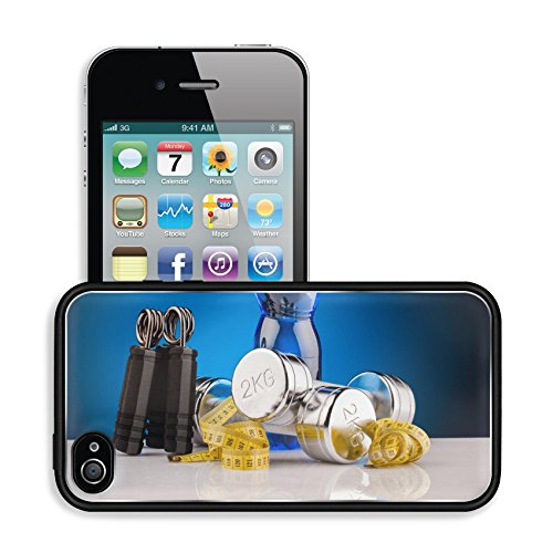 Luxlady Premium Apple iPhone 4 iPhone 4S Aluminum Backplate Bumper Snap Case IMAGE ID: 24830881 fitness dumbbells and bottle of water