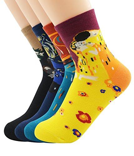 zando-fashion-cool-art-long-cotton-famous-collection-painting-crew-socks-4-pack-set