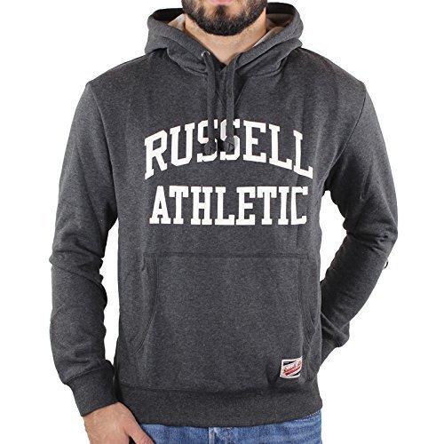 Russell Athletic Uomo Felpa con cappuccio, Grigio Scuro, Taglia S