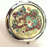 AUM - Folding Compact Hand Held Make-Up,Vanity Box, Hand Bag Mirror - Made Of Mother Of Pearl Lacquered Heart...