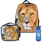 3D African King Lion Backpack, Lunchbox, and Water Bottle Back to School