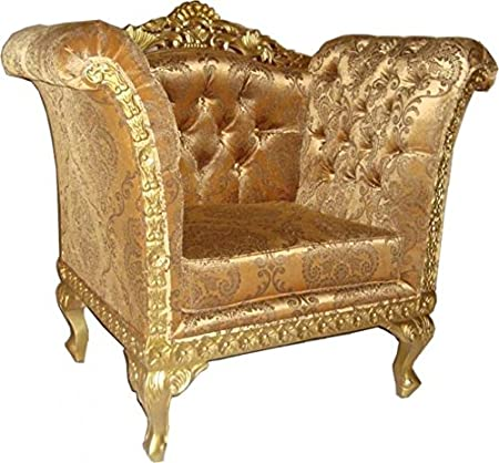 Casa Padrino Baroque Lounge Chair Gold Pattern / Gold Antique Style Furniture - Living Room Furniture Club Chair