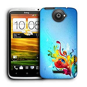 Snoogg Colorful Paint Printed Protective Phone Back Case Cover For HTC One X