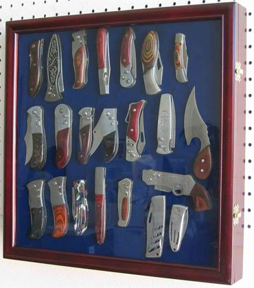 Knife Display Case Wall Shadow Box for Hunting Pocket Swiss Army Knives Display, Cherry Finish (KC04-CH) (Display Case For Knives compare prices)