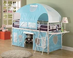 Boys Tent Twin Size Loft Bunk Bed in Light Blue & White Finish