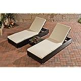 Sonnenliegen-Set mit Sitzauflagen Farbe (Gestell): Schwarz