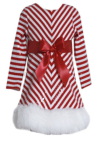 Bonnie Jean Girls Sequins Striped Holiday Christmas Santa Dress, Red, 3T