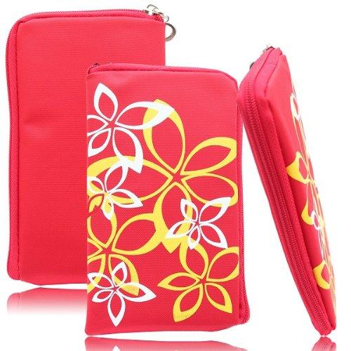 Flower Case in Rot für Samsung GT-S7580 Galaxy Trend Plus Handytasche Reissverschluss Etui Schutz Hülle Handy Tasche Holster Schutzhülle Schutz Cover Blumen Design