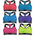 "Women 6 Pack Neon Color ""Sweet"" Band Matching Yoga Sports Bras"