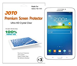 JOTO Premium Screen Protector Film HD Ultra Clear (Invisible) for the Samsung Galaxy Tab 3 8.0 Inch Tablet with Lifetime Replacement Warranty (3 Pack)