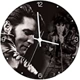 "Vandor 47089 Elvis Presley 13.5"" Cordless Wood Wall Clock, Black and White"