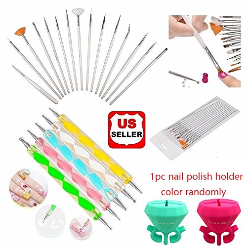 Glam Hobby 20pc Nail Art Manicure Pedicure Beauty Painting Polish Brush and Dotting Pen Tool Set for Natural, False, Acrylic and Gel Nails (White Nail Polish Set compare prices)