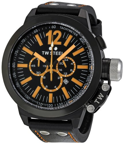 TW Steel Men's CE1030 CEO Canteen Black Leather Chronograph Dial Watch