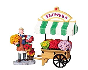 #!Cheap Lemax Village Flower Cart Table Piece Set #83694