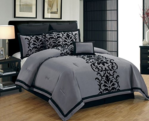Fancy Collection 8 Piece Luxury Black And Gray Comforter Set Bed In A Bag New (Queen) front-975846