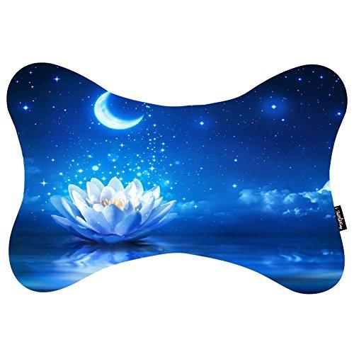 i-famuray-dog-bone-shape-cuscino-da-viaggio-with-cosmos-fastening-strap-water-lily-flower-bloom-wate