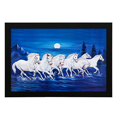 Delight White Horse Canvas Painting