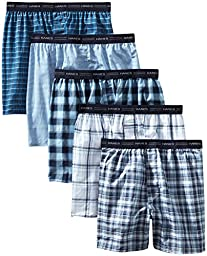Hanes Men\'s 5-Pack Tagless, Tartan Boxer with Exposed Waistband, Assorted, XX-Large