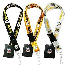 NFL Pittsburgh Steelers Lanyard, ( White, Black, Yellow ) Breakaway Keychain Lanyard, Set of 3
