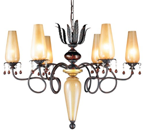 B000K7YCGG Eurofase 12803-019 Tova 6-Light Chandelier, Bronze/Amber with Gold