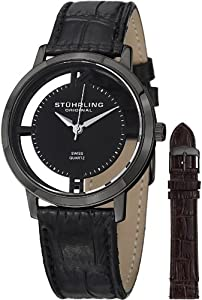 Stuhrling Original Mens 388G2.SET.04 Winchester Cathedral Black Ion-Plated Stainless Steel Watch with Additional Leather Strap