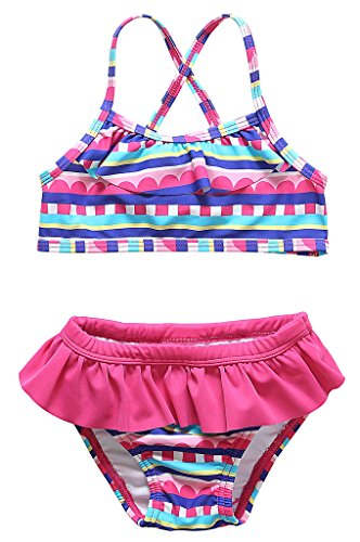 Alove Baby Girl's Ruffled Tankini Rainbow / Stripes Print Two Piece with Bottom 18-24 Months