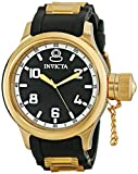 Invicta Russian Diver Men's Quartz Watch with Black Dial Analogue Display and Gold PU Strap 1436