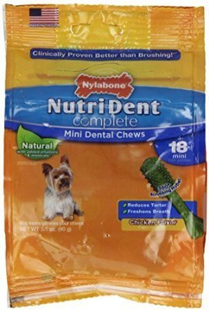 Nutri Dent Complete Mini Dental Chews For Adult Dogs, Chicken Flavor