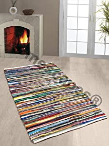 Homescapes - 100% Recycled Cotton Chindi Rug Multi Coloured Stripes on White Base from Homescapes