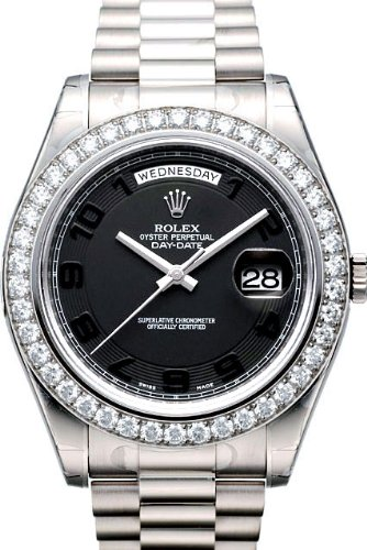 Buy Rolex Day-Date II President White Gold Diamond Watch, Black Concentric Dial
