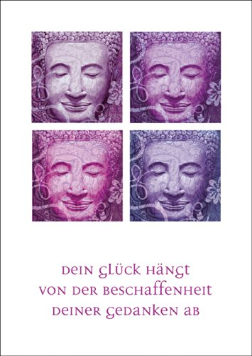 Verschicken Sie Entspannung mit diesem lächelndem Buddha Set in lila: Dein Glück... • auch zum direkt Versenden mit ihrem persönlichen Text als Einleger.