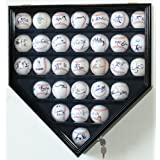 30 Baseball Display Case Cabinet Holder Rack Home Plate Shaped w  UV Protection- Lockable by sfDisplay