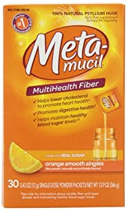 Metamucil Psyllium Fiber Supplement Orange Sugar Smooth Texture Powder Packets, 30 Count, 12.9 Ounce, (Pack of 2)