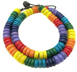 collier homme femme bois coco Gay Multicolor Homo Bi Lesbienne 45cm long