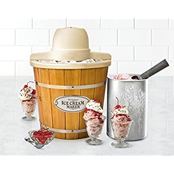 Nostalgia ICMP400WD Vintage Collection 4-Quart Wood Bucket Electric Ice Cream Maker with Easy-Clean Liner