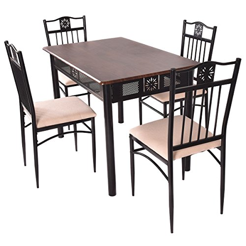 Tangkula 5 Piece Wood Top Metal Dining Table and chairs set Kitchen Breakfast Furniture (D Piece Kitchen Table Set compare prices)