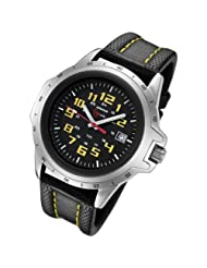 Armourlite ColorBrite Shatterproof Scratch Resistant Glass Yellow Tritium Watch 10 yr battery w/ Yellow Stitching on Black Leather Band AL204