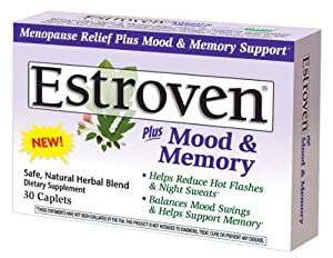 Estroven Plus Mood & Memory Caplets for Menopause, 30-Count Boxes (Pack of 2)