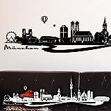 """Wandkings Wandtattoo """"Skyline München (mit Sehenswürdigkeiten und Wahrzeichen der Stadt)"""" 220 x 66 cm schwarz – erhältlich in 33 Farben"""