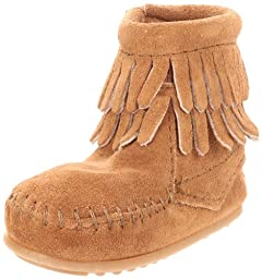 Minnetonka Double Fringe Bootie (Infant/Toddler),Taupe,1 M US Infant