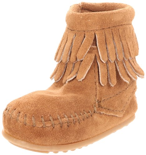Minnetonka Double Fringe Boot (Infant/Toddler),Taupe,6 M US Toddler