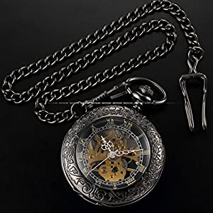 AMPM24 Steampunk Skeleton Mechanical Copper Fob Retro Pendant Pocket Watch + AMPM24 Gift Box WPK164