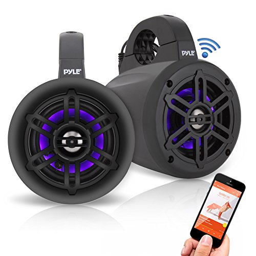 """Pyle Waterproof Rated Bluetooth Marine Tower Wakeboard Subwoofer Speaker System with Wireless Music Streaming & LED Lights (4"""", 300 W)(PLMRLEWB47BB)"""
