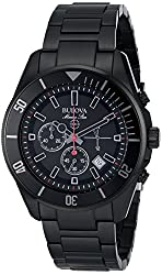Bulova Men's 98B231 Marine Star Analog Display Japanese Quartz Black Watch