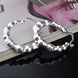 Skyllc® Estilo de moda S925 joyería de plata pendiente fina de bambú hueco redondo