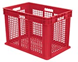 Akro-Mils 37616 24-Inch by 16-Inch by 16-Inch Straight Wall Container Plastic Tote with Mesh Sides and Mesh Base, Case of 2,Red