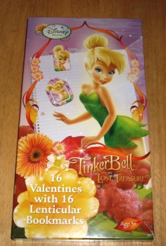 Disney Tinkerbell Box of Valentine's Day Cards & Lenticular Bookmarks - Valentines Tinker Bell Fairy of Peter Pan