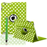 360 ROTATING FLIP LEATHER CASE COVER FOR THE NEW IPAD MINI (Green Polka)